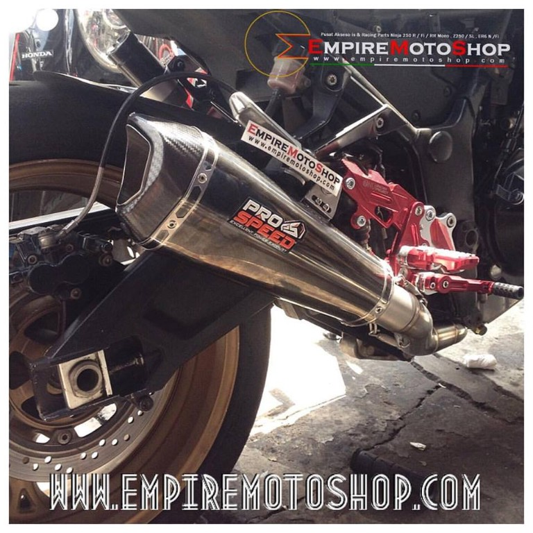 Knalpot Pro speed Shark Blackseries Fullsystem Ninja 250 FI / Z250 Terpasang