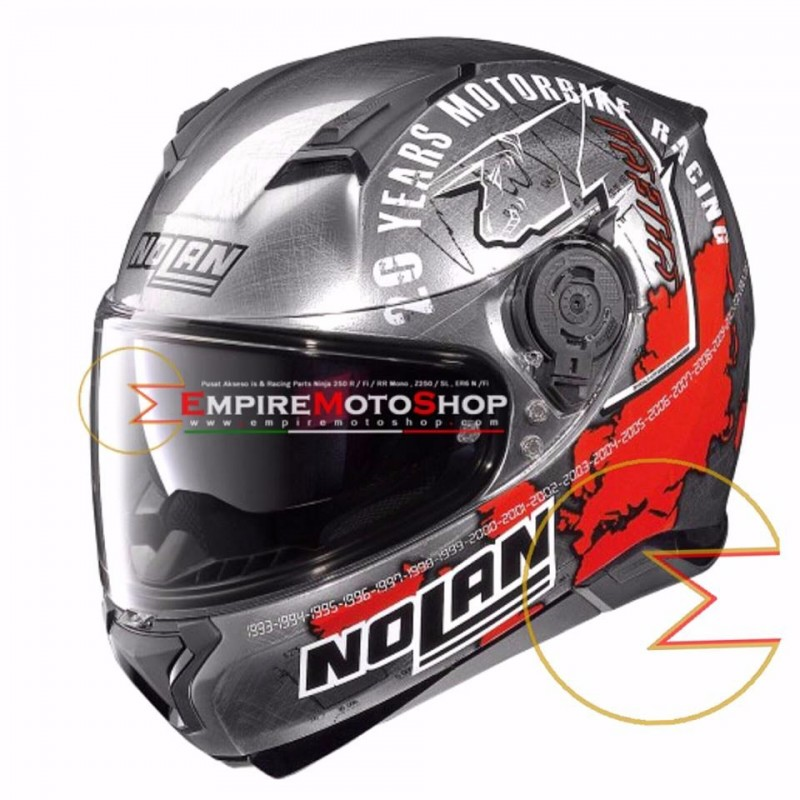 Helm Nolan N87 Iconic Checa Scratched Chrome